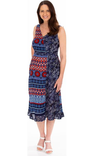 Printed Asymmetric Midi Dress Blue/Coral - Gallery Image 1