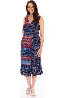 Printed Asymmetric Midi Dress
