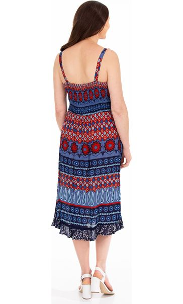 Printed Asymmetric Midi Dress Blue/Coral - Gallery Image 2