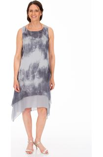 Sleeveless Mottled Printed Chiffon Layered Dress