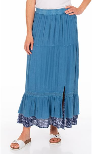 Boho Pull On Maxi Skirt Blue