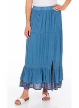 Boho Pull On Maxi Skirt Blue - Gallery Image 1