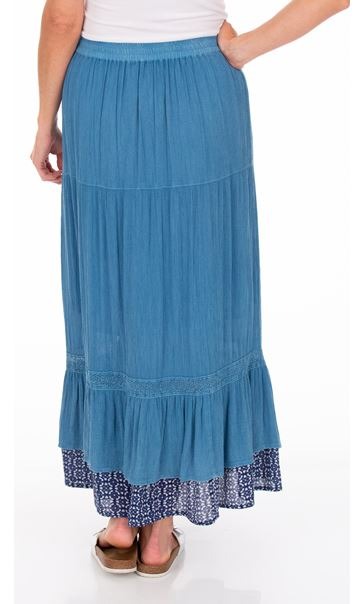 Boho Pull On Maxi Skirt Blue - Gallery Image 2