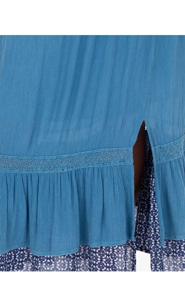Boho Pull On Maxi Skirt Blue - Gallery Image 3