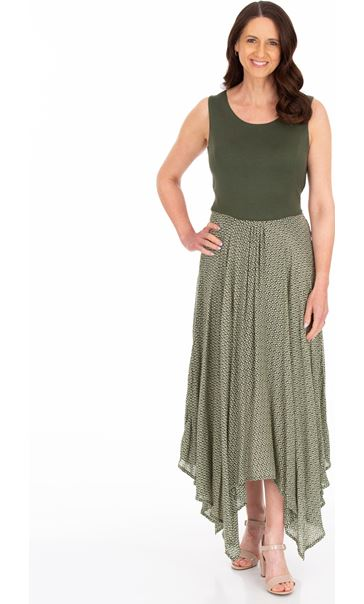 Sleeveless Hanky Hem Maxi Dress Khaki/White