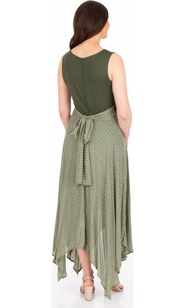 Sleeveless Hanky Hem Maxi Dress Khaki/White - Gallery Image 2