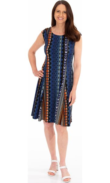 Printed Panelled Jersey Short Sleeve Dress Blue/Brown