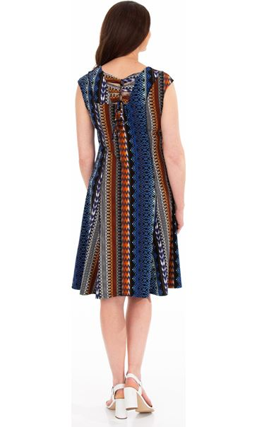 Printed Panelled Jersey Short Sleeve Dress Blue/Brown - Gallery Image 2