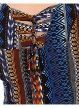 Printed Panelled Jersey Short Sleeve Dress Blue/Brown - Gallery Image 3