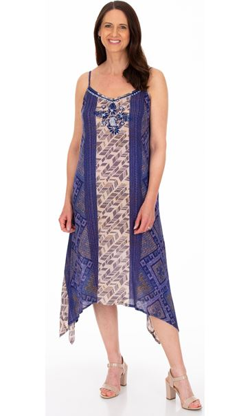 Strappy Embroidered and Printed Lightweight Dress Blue