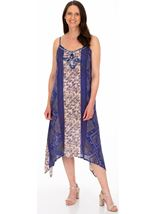 Strappy Embroidered and Printed Lightweight Dress Blue - Gallery Image 1