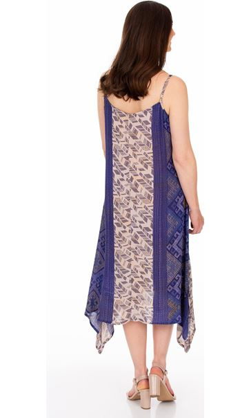 Strappy Embroidered and Printed Lightweight Dress Blue - Gallery Image 2