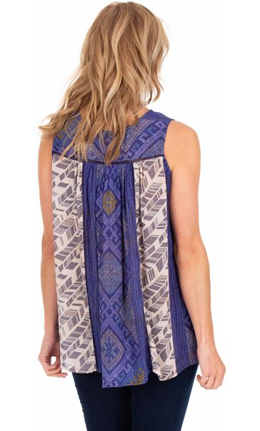 Printed Sleeveless Panel Top Blue - Gallery Image 2