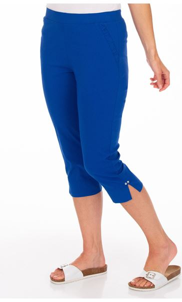 Fitted Cropped Stretch Trousers Blue