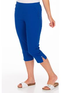 Fitted Cropped Stretch Trousers - Blue