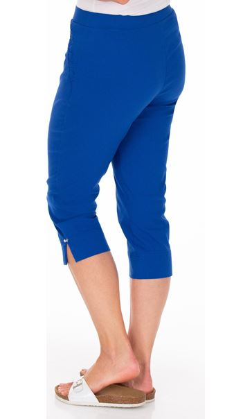 Fitted Cropped Stretch Trousers Blue - Gallery Image 2