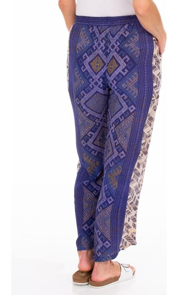 Printed Panelled Wide Leg Trousers