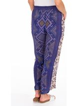Printed Panelled Wide Leg Trousers Blue - Gallery Image 2