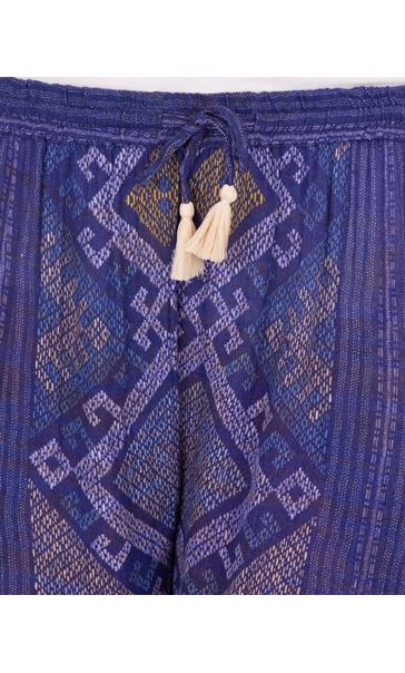 Printed Panelled Wide Leg Trousers Blue - Gallery Image 3