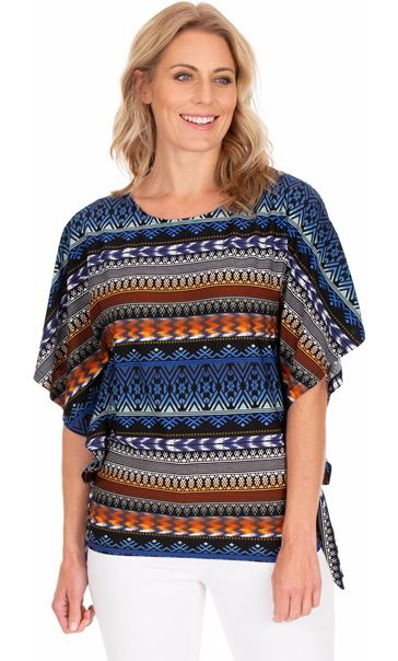 Printed Side Tie Jersey Top Blue/Brown