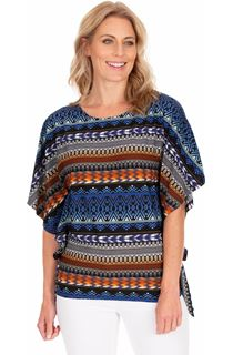Printed Side Tie Jersey Top