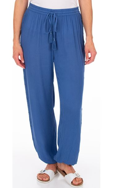 Elasticated Cuff Pull On Trousers Blue
