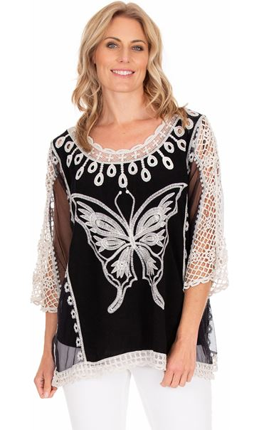 Butterfly Embroidered Top Black/White