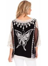 Butterfly Embroidered Top Black/White - Gallery Image 2