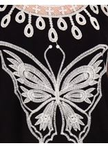 Butterfly Embroidered Top Black/White - Gallery Image 3