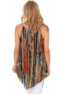 Pleated Sleeveless Stripe Animal Print Tunic