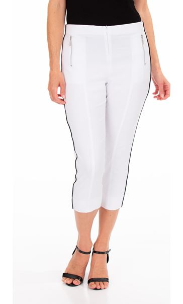 Side Stripe Cropped Stretch Fitted Trousers White