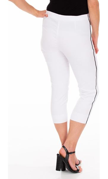 Side Stripe Cropped Stretch Fitted Trousers White - Gallery Image 2