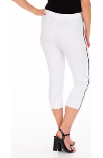 Side Stripe Cropped Stretch Fitted Trousers - White