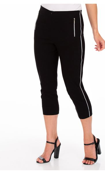 Side Stripe Cropped Stretch Fitted Trousers Black - Gallery Image 1
