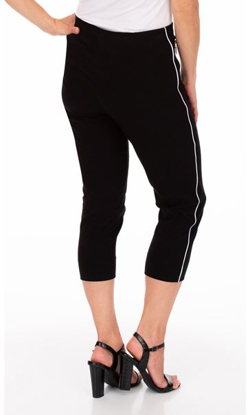 Side Stripe Cropped Stretch Fitted Trousers - Black