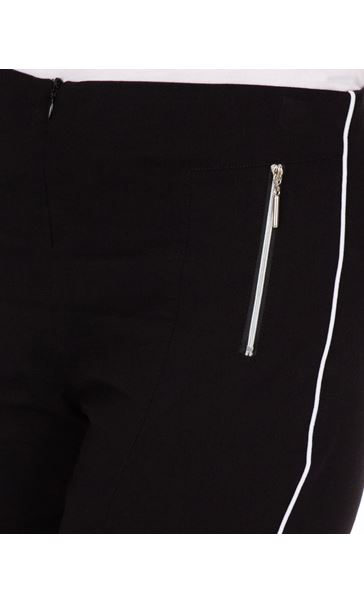 Side Stripe Cropped Stretch Fitted Trousers Black - Gallery Image 3