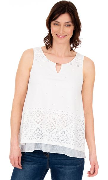 Layered Split Back Top White