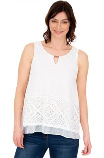 Layered Split Back Top - White