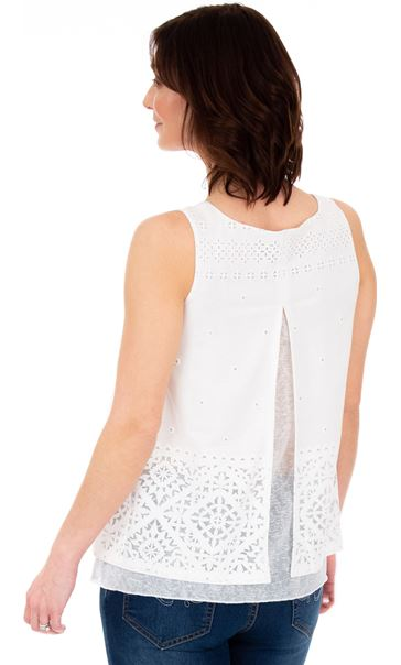 Layered Split Back Top White - Gallery Image 2