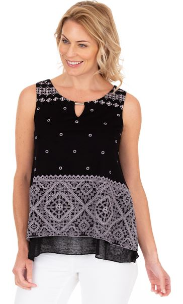 Layered Split Back Top Black