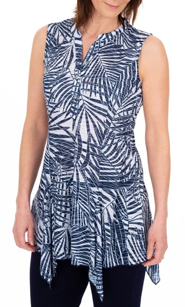Anna Rose Palm Print Sleeveless Tunic Navy/White