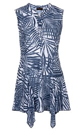 Anna Rose Palm Print Sleeveless Tunic Navy/White - Gallery Image 4