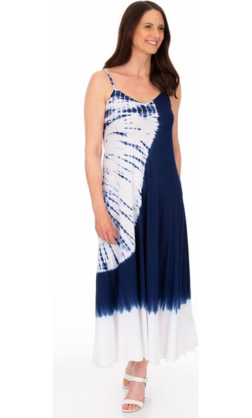 Strappy Tie Dye Maxi Dress Blue
