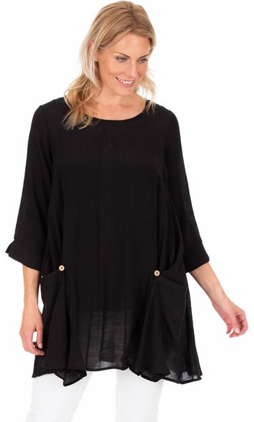 Oversized Dip Hem Tunic Black