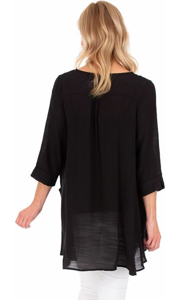 Oversized Dip Hem Tunic Black - Gallery Image 2