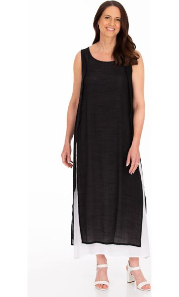 Sleeveless Layered Maxi Dress Black