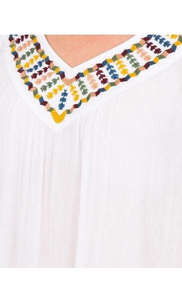 Embroidered V neck Sleeveless Top White - Gallery Image 3