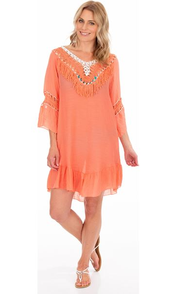 Crochet Trimmed Tunic Papaya