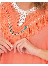 Crochet Trimmed Tunic Papaya - Gallery Image 3