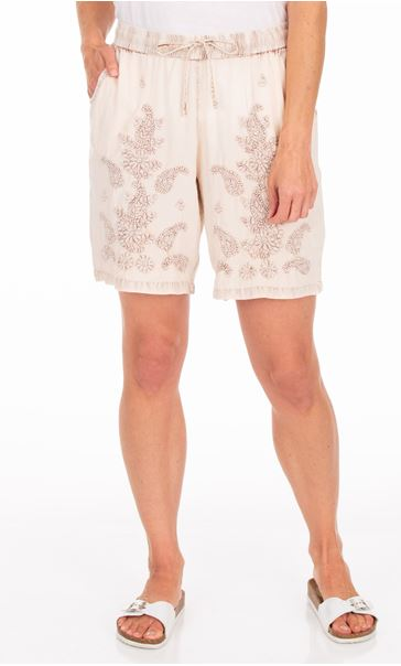 Embroidered Pull On Washed Shorts Cream/Brown